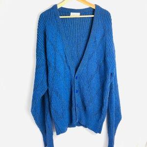 Vintage Dior V Neck Knitted Blue Print Cardigan
